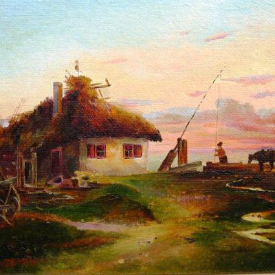 «На хуторе» Холст, масло, 36х26 см, (копия с оригинала у Ипатьевых)